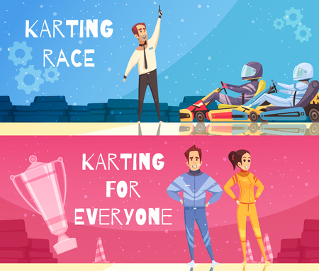 Colorful cartoon set of horizontal banners with kart racing winners isolated vector illustration Иллюстрация