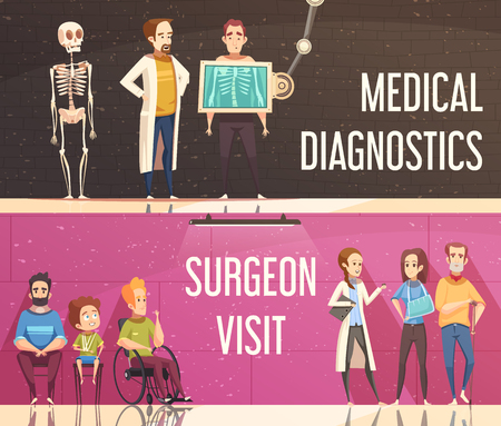 Cartoon horizontal banners set with people consulting orthopedist and surgeon isolated vector illustration Illustration