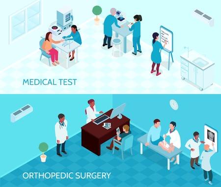 Medische hulp horizontale banners met artsen en verpleegkundigen betrokken bij het testen en orthopedische chirurgie isometrische vectorillustratie Vector Illustratie
