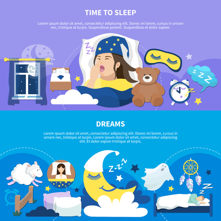 Time to sleep and night dreams sweet childish symbols 2  flat horizontal banners set isolated vector illustration Illustration