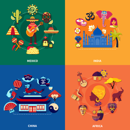 Travel to various countries 2x2 icons set with mexican indian chinese and african culture on colorful background flat isolated vector illustration