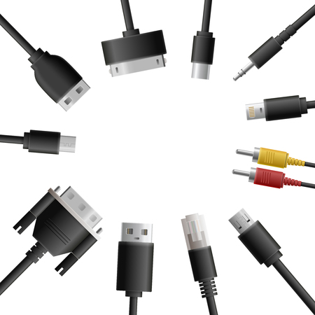 Realistic cable connectors background with round composition of computer audio video and data transfer wire plugs vector illustration