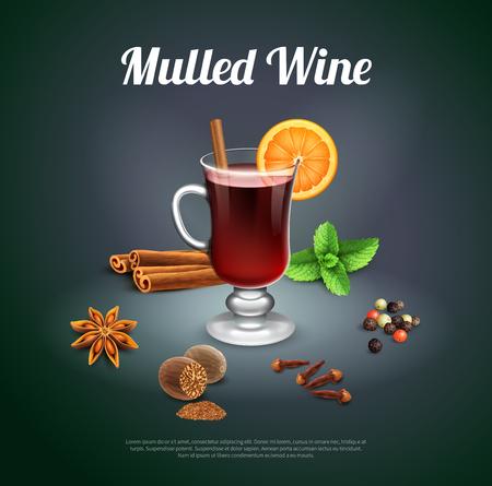 Fondo alcolico di festa di Natale con il bicchiere di vino dell'illustrazione realistica di vettore degli ingredienti dei bastoni e del chiodo di cannella della menta arancio della fetta del vino sciupato