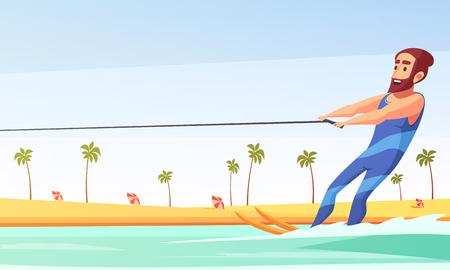 Happy man doing water skiing along sandy beach cartoon vector illustration