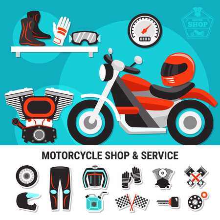 Motorcycle shop and service flat vector illustration with spare parts and bikers gear wares decorative elements Фото со стока - 91000484