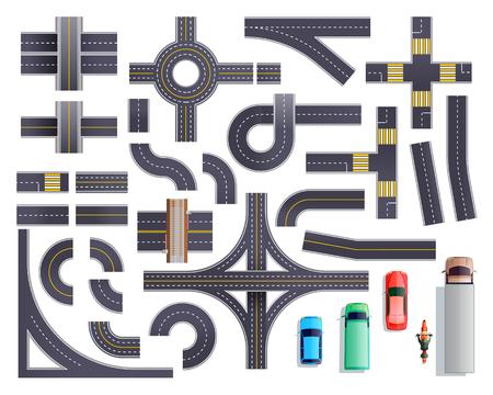 De reeks wegdelen met kant van de weg en markering met inbegrip van kruispunten, kruispunten, zebrapaden, bruggen, voertuigen isoleerde vectorillustratie
