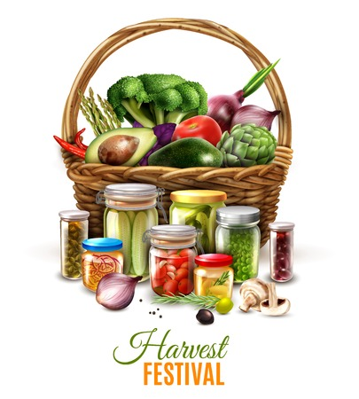 Canned goods composition with harvest in wicker basket and vegetable conserves in glass jars vector illustration