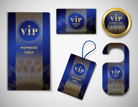 Set of vip member elements glossy black design template with crest ornament, golden inscription isolated vector illustration