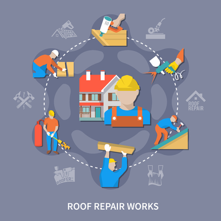 Roofer colored composition with roof repair works and different types of work vector illustration