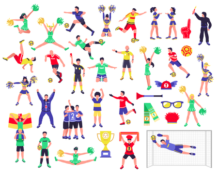 Football soccer players cheerleaders fans set of isolated human figures with merch marks of favourite team vector illustration