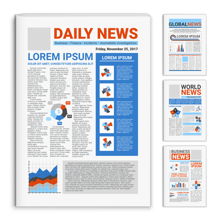 Set of realistic mockup newspapers with global and business news on front page isolated vector illustration Çizim