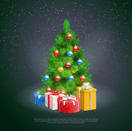 Gift boxes under christmas tree decorated by colored balls on night snowflake background realistic vector Illustration Illustration