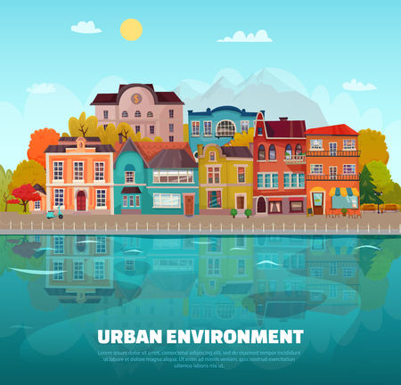 Urban environment background with buildings trees and river flat vector illustration