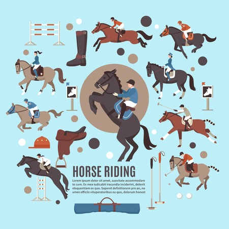 Horse riding flat composition with jockeys, polo players, gear, sport equipment on blue background isolated vector illustration