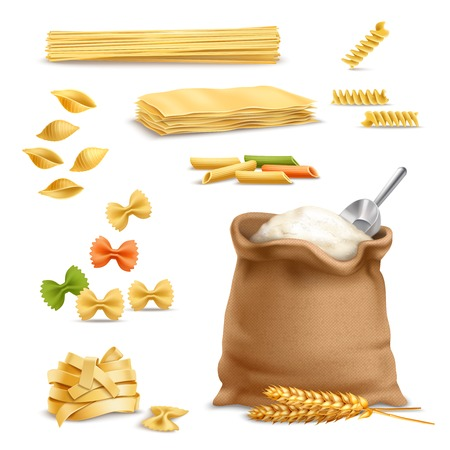 Set of realistic icons with pasta, wheat spikelets, sack of flour with metal scoop isolated vector illustration Illustration