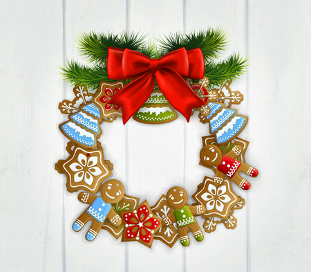 Merry christmas vintage design with white wooden door decorated by wreath made of  christmas toys realistic vector Illustration