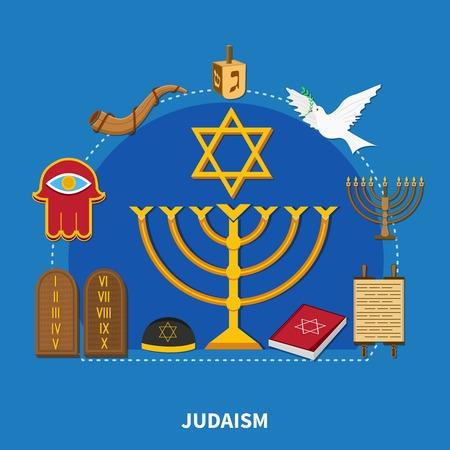 Samenstelling van platte religies met jodendom en de belangrijkste onderscheidende kenmerken van deze religie vectorillustratie