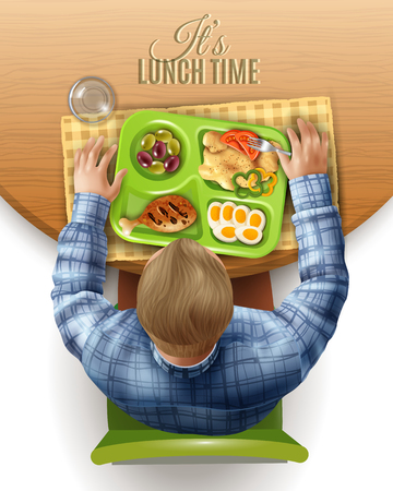 Man behind wooden table with boxed lunch with chicken and mashed potato, top view design vector illustration Imagens - 91000925