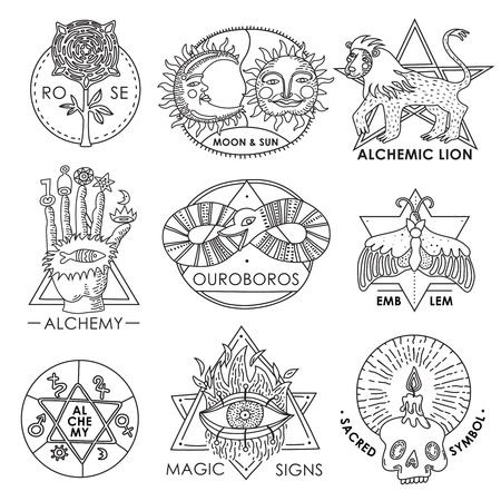 Magic emblems monochrome hand drawn set with sacred symbols alchemy signs ouroboros devouring its tail isolated vector illustration