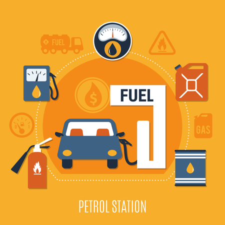 Colored flat fuel pump composition in orange colors and car is refueling vector illustration