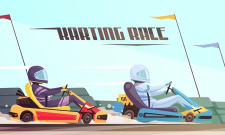 Two drivers taking part in kart racing cartoon vector illustration 일러스트