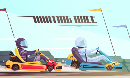 Two drivers taking part in kart racing cartoon vector illustration Stock Illustratie