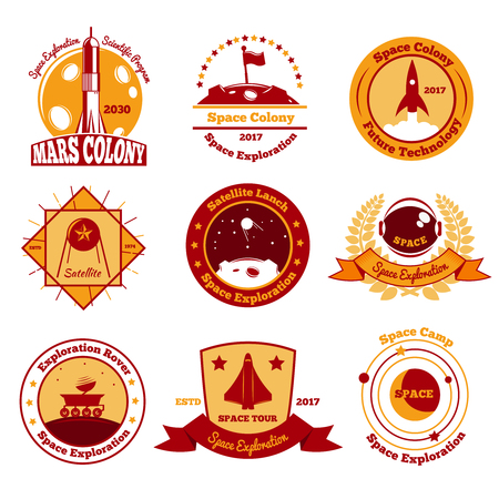 Space exploration emblems color set of isolated outer space adventure images with rockets and text captions vector illustration