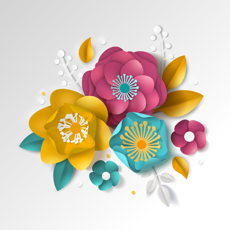 Realistic paper floral composition with color flowers and leaves on white background 3d vector illustration Illustration