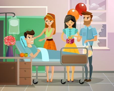 Visitors with gifts and balloons near lying patient on bed in hospital ward vector illustration 向量圖像