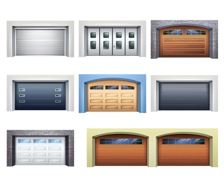 conjunto de puertas de garaje realista de varios materiales con materiales mecánicos o atm ilustración vectorial aislado Ilustración de vector