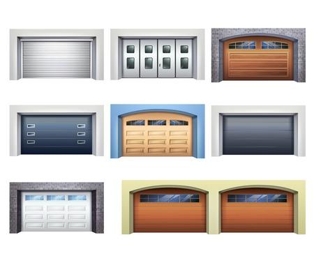 Zestaw realistycznych bram garażowych z różnych materiałów z mechanicznym lub automatycznym systemem sterowania na białym tle ilustracji wektorowych Ilustracje wektorowe
