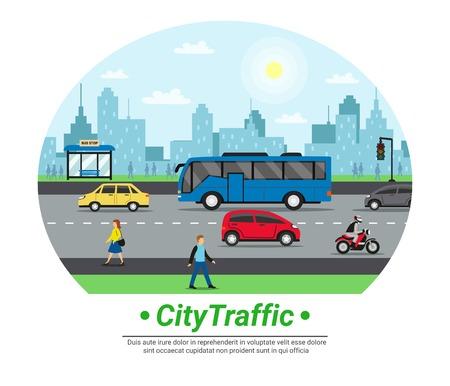 Stadsstraat verkeer platte cirkel pictogram met auto motorfiets bushalte voetgangers en stadsgezicht achtergrond vectorillustratie