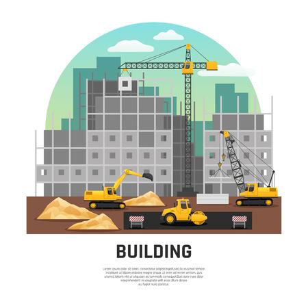 現代の建築工事現場クレーンやショベル機械作業フラット半 rond 組成ベクトル図と