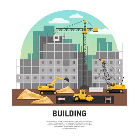 Modern building construction site with cranes and excavator machinery at work flat half-rond composition vector illustration Иллюстрация