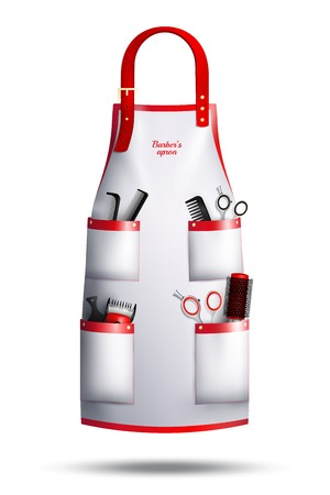 Realistic hairdresser red white apron with leather loop, metal rivets, professional instruments in pockets isolated vector illustration Çizim