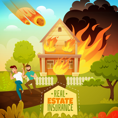 Natural disaster real estate insurance poster with running persons from burning house, falling of meteorite vector illustration Vectores