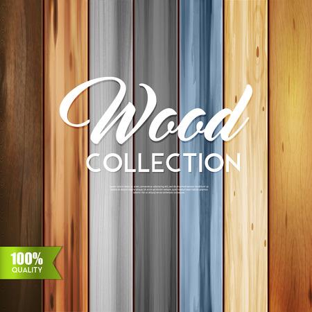 Realista textura de madera conjunto de fondo con el texto caligráfico y las palabras de bloques de madera con diferentes patrones de ilustración vectorial Foto de archivo - 91000525