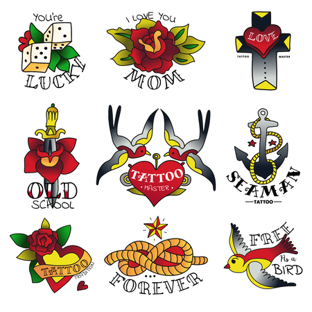 Old tattooing school isolated colored emblems set with traditional tattoo flowers birds and sea symbols sketch vector illustration