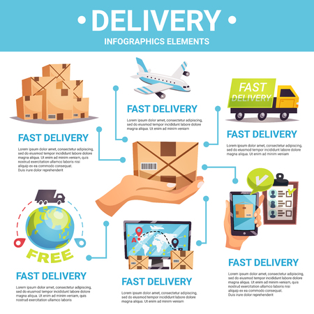 Worldwide fast and secure express delivery options flat infographic poster with shipment tracking vector illustration