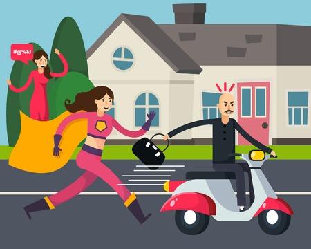 Superheld orthogonale samenstelling met lopende vrouw in mantel en dief met gestolen tas op scooter vectorillustratie