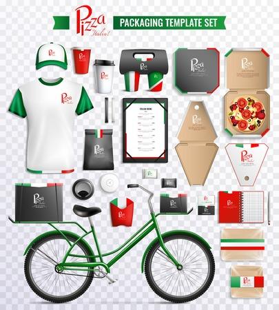 Ensemble de modèle d & # 39 ; emballage pour pizza et boissons avec marque de marque isolé sur fond transparent illustration vectorielle Banque d'images - 91000531
