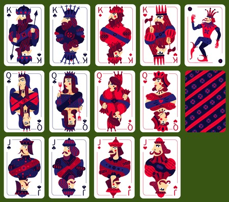 Poker playing cards set with high cards of four suits isolated on green background  vector illustration Vectores