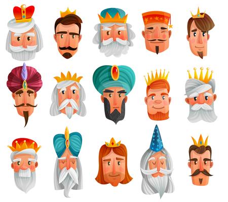로얄 캐릭터 만화 유럽 및 아시아 킹스, 왕자, 현명한 남자의 격리 된 벡터 일러스트 레이 션의 얼굴로 설정