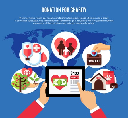 Charity background concept with human hands and tablet with donation app and images in thought bubbles vector illustration Illustration
