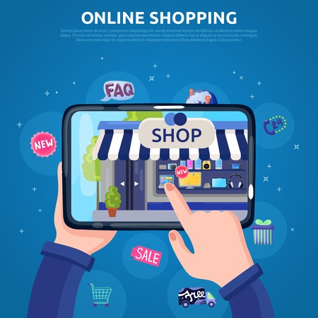 Online shopping poster with people hands selecting goods on tablet screen flat vector illustration Illustration