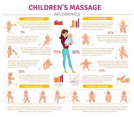 Baby massage infographic set met moeder en baby symbolen platte vectorillustratie Stock Illustratie