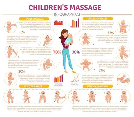 Baby massage infographic set with mother and baby symbols flat vector illustration Vectores