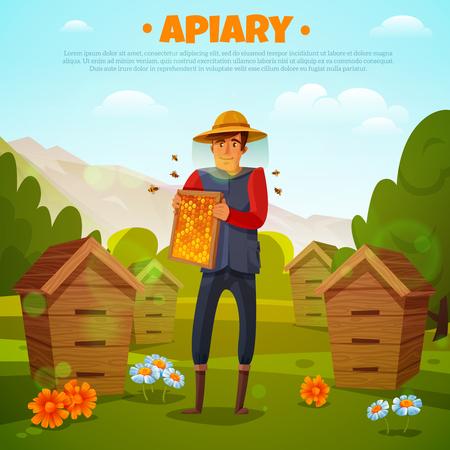 Imker in beschermende hoed met honingraten tussen bloemen en bijenkorven op berg achtergrondbeeldverhaal vectorillustratie Stock Illustratie