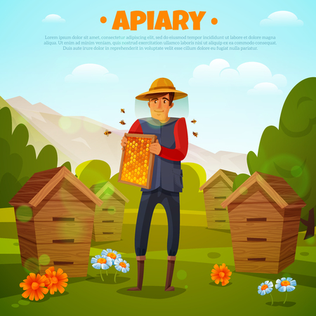Beekeeper in protective hat with honeycombs between flowers and beehives on mountain background cartoon vector illustration Illustration