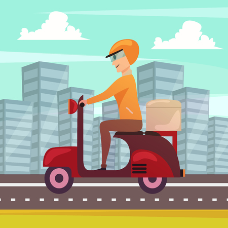 Courier delivery orthogonal poster with motorbike dispatch rider in modern urban center street cityscape background vector illustration
